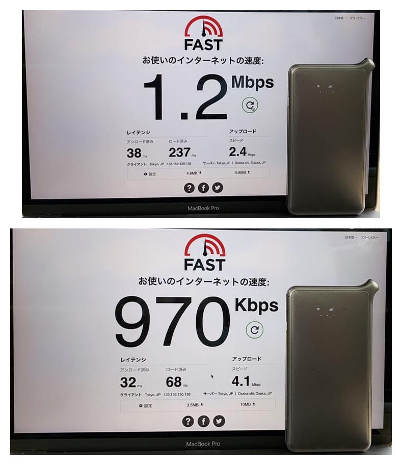 AiR-WiFiの田舎の通信速度
