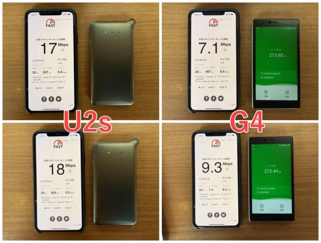 AiR-WiFiのU2sとG4の速度比較