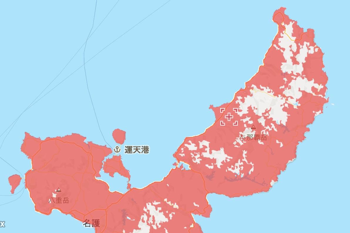 DoRACOONのエリア(沖縄北部)
