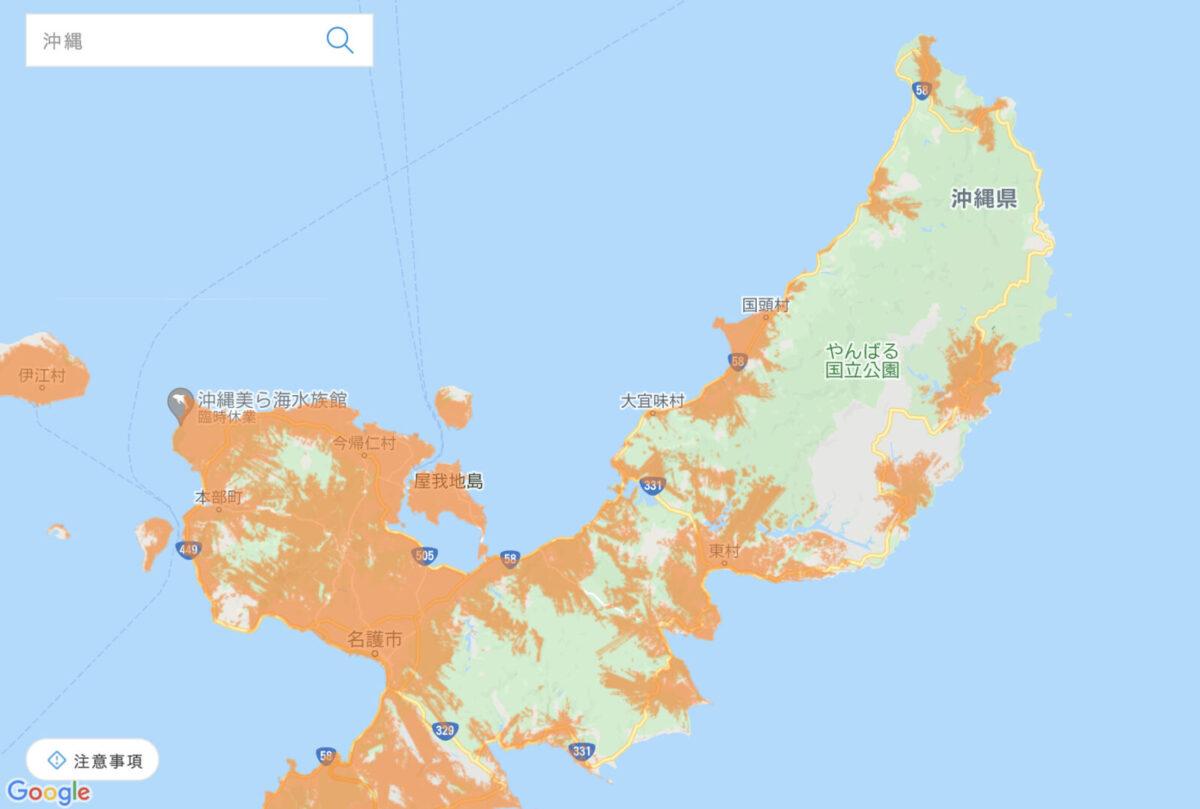 WiMAXのエリア(沖縄北部)