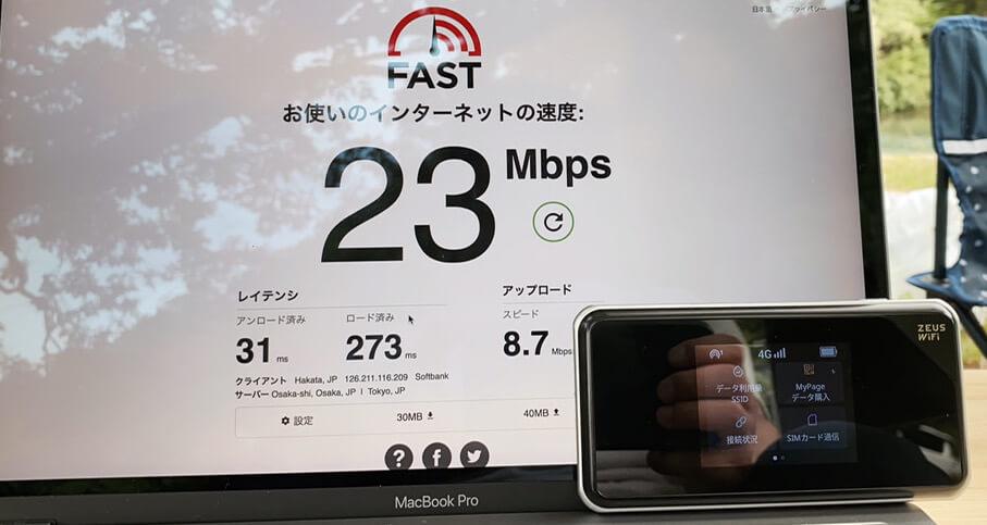 ゼウスWi-Fiの田舎での通信速度